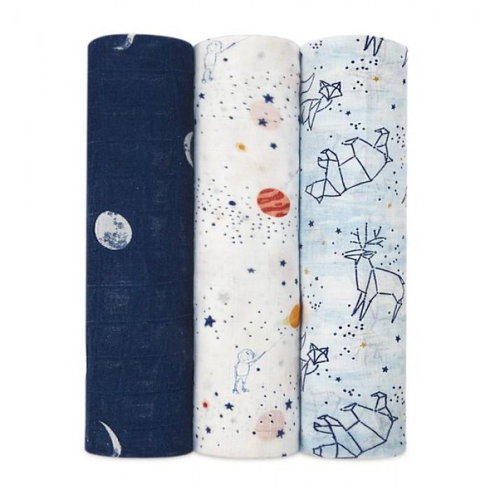 Набор из 3-х бамбуковых пеленок White label Stargaze 120x120см