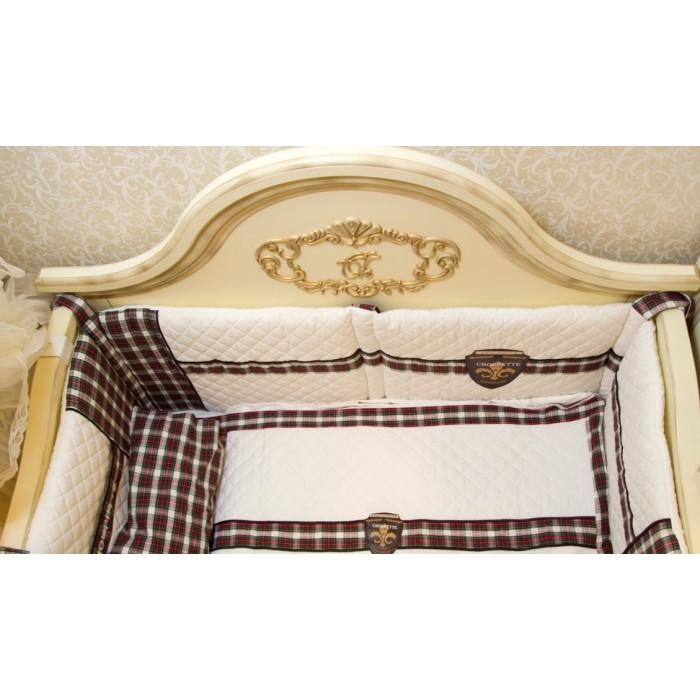 Комплект в кроватку 6 предметов  Византия с кожаным шевроном 100.3.39
