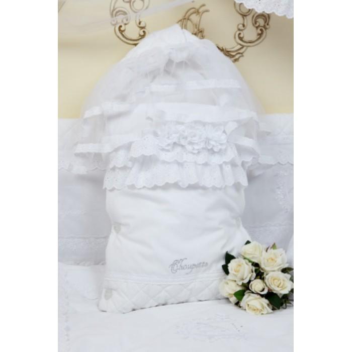 123.28 Конверт на выписку Choupette с прошвами и цветами Акварель, белый