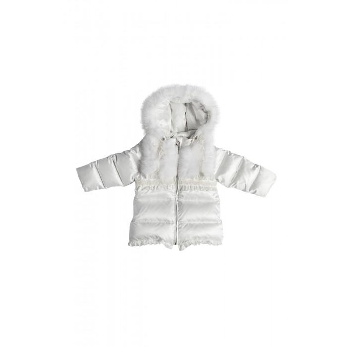 Конверт-куртка пуховый с мехом и кружевом  124.1.07