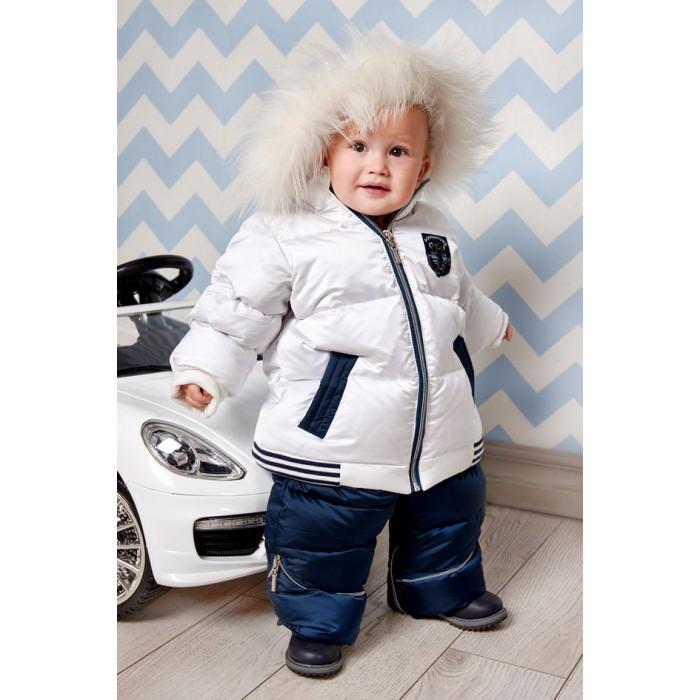 Конверт-куртка трансформер пуховый с меховой белой опушкой для мальчика 450.20