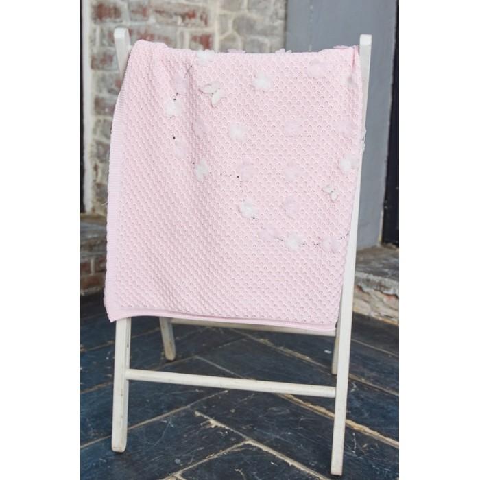 Плед вязаный с цветочной аппликацией розовый 490.43
