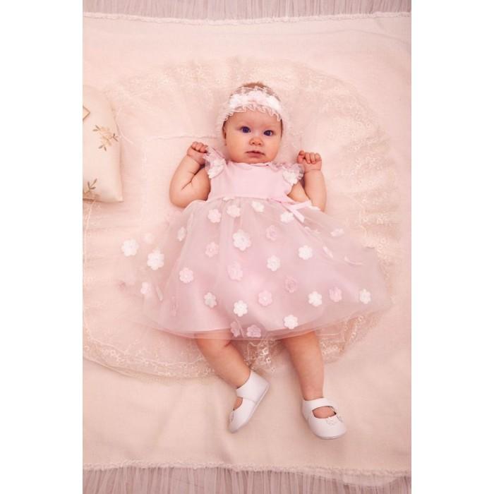 Платье нарядное с цветочными украшениями на сетке,в комплекте с шортами 484.43