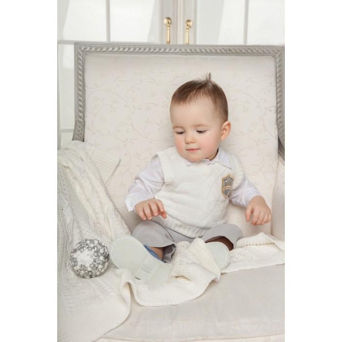 Одежда до годика для мальчика, комплект (боди-рубашка, жилет вязаный, брюки) 222.43