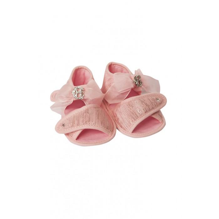 Пинетки с бантом и монограммой, розовые 820.43