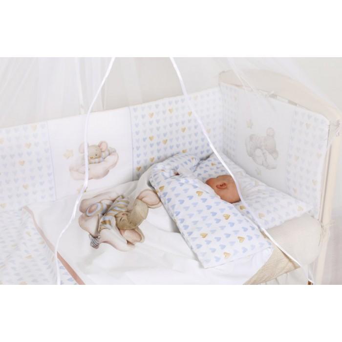 Комплект в кроватку 6 предметов Мышки на облачке арт.6076
