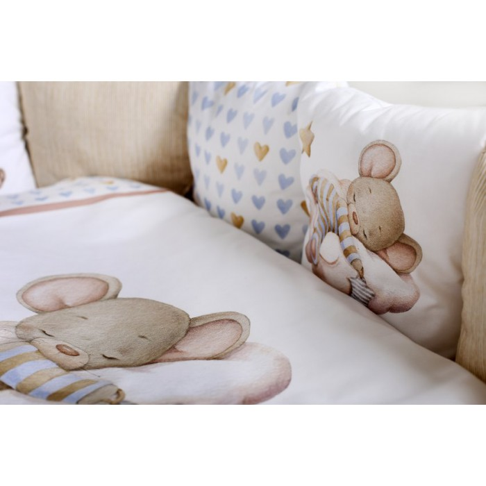 Комплект в кроватку 6 предметов Мышки на облачке арт.6075