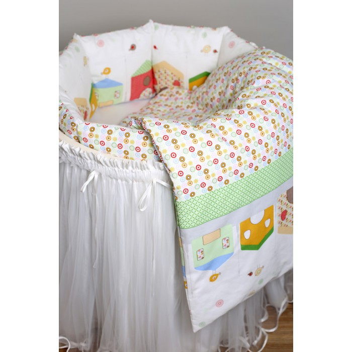 Комплект в круглую кроватку Rabby-baby Домики 6 пр.