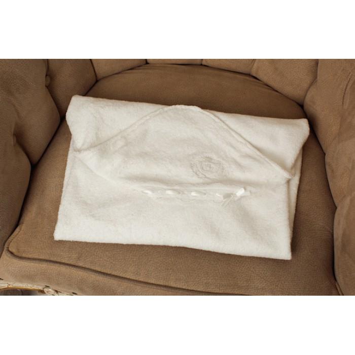 Крестильная пеленка-полотенце с кружевом махровая 125.39