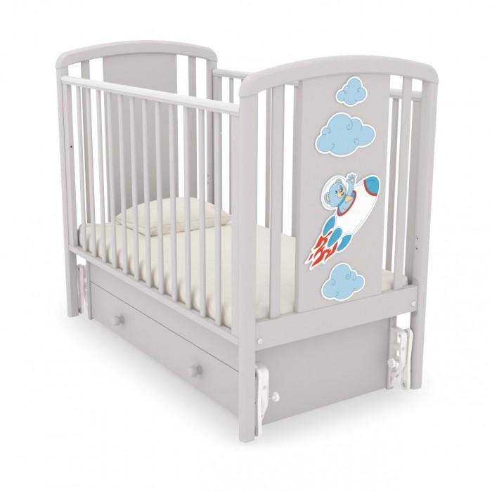 Детская кроватка с универсальным маятником Жаклин (Мишка на ракете)